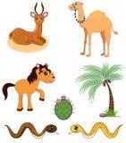 Insieme degli animali del deserto Immagine Stock Libera da Diritti
