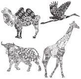Insieme degli animali nell'ornamento etnico Immagini Stock Libere da Diritti