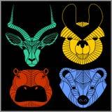 Insieme degli animali poligonali Logos poligonale Insieme geometrico del lupo, volpe, giaguaro, leone illustrazione di stock