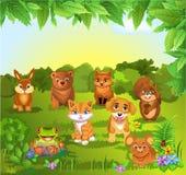 Insieme degli animali su uno sfondo naturale Fotografia Stock