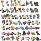 Insieme degli animali svegli del fumetto Fotografia Stock Libera da Diritti