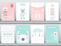 Insieme degli animali svegli manifesto, modello, carte, orso, illustrazioni di vettore royalty illustrazione gratis