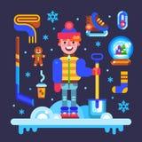 Insieme degli attributi di inverno per divertimento e le feste Fotografia Stock