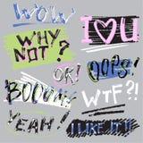 Insieme degli autoadesivi con gli slogan Autoadesivi brillantemente colorati iscrizione fonts illustrazione di stock