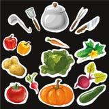 Insieme degli autoadesivi con le verdure disegnate a mano variopinte Grande per gli autoadesivi, ricamo Immagine Stock