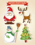 Insieme degli autoadesivi del fumetto di Natale Fotografia Stock