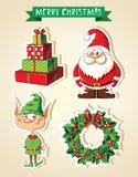 Insieme degli autoadesivi del fumetto di Natale Immagini Stock Libere da Diritti