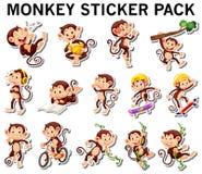 Insieme degli autoadesivi della scimmia in poste differenti Fotografia Stock