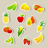 Insieme degli autoadesivi delle verdure e della frutta Immagine Stock