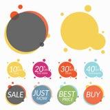 Insieme degli autoadesivi di vendita, insegne Due modelli per il vostro testo illustrazione di stock