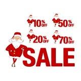 Insieme degli autoadesivi di vendita Santa Claus e 10%, 20%, 50%, 70% Fotografia Stock