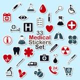 Insieme degli autoadesivi medici dell'icona Fotografia Stock