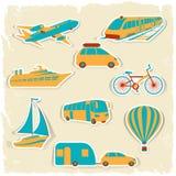 Insieme degli autoadesivi turistici di trasporto Fotografia Stock
