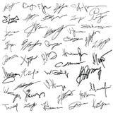 Insieme degli autografi Fotografie Stock Libere da Diritti