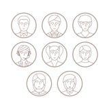 Insieme degli avatar e dei caratteri di vettore nella mono linea stile sottile Fotografia Stock Libera da Diritti
