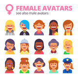 insieme degli avatar femminili Vedi inoltre la raccolta maschio Fotografia Stock