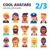 Insieme degli avatar freschi 2 di 3 Vedi inoltre altre parti Fotografia Stock Libera da Diritti