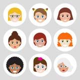 Insieme degli avatar, icone piane per il web Fotografie Stock Libere da Diritti