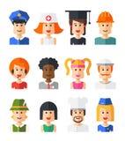 Insieme degli avatar piani isolati dell'icona della gente di progettazione Fotografia Stock