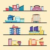 Insieme degli edifici pubblici Architettura moderna Illustrazione piana di vettore illustrazione vettoriale