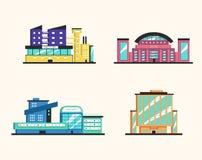 Insieme degli edifici pubblici Architettura moderna Illustrazione piana di vettore illustrazione di stock