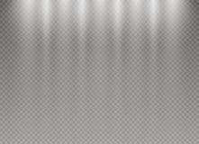 Insieme degli effetti delle luci d'ardore dorati isolato su fondo trasparente Flash di Sun con i raggi ed il riflettore E Fotografia Stock
