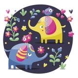 Insieme degli elefanti svegli con gli uccelli, i fiori, le piante, la foglia ed i cuori Immagini Stock