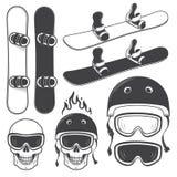 Insieme degli elementi in bianco e nero di snowbords royalty illustrazione gratis