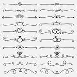 Insieme degli elementi calligrafici decorativi per la decorazione Immagine Stock