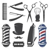 Insieme degli elementi d'annata del negozio di barbiere illustrazione di stock