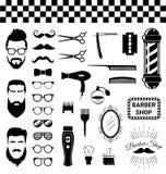 Insieme degli elementi d'annata del negozio di barbiere Immagine Stock