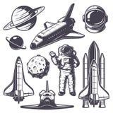 Insieme degli elementi d'annata dello spazio illustrazione di stock