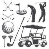 Insieme degli elementi d'annata di golf illustrazione vettoriale