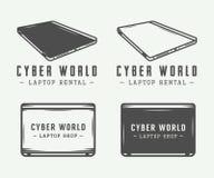 Insieme degli elementi d'annata di logo, dell'emblema, del distintivo e di progettazione del computer portatile illustrazione vettoriale