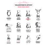 Insieme degli elementi d'annata di progettazione di San Valentino Fotografia Stock