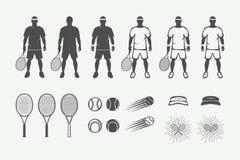 Insieme degli elementi d'annata di progettazione di sport di tennis nel retro stile royalty illustrazione gratis