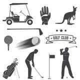 Insieme degli elementi d'annata e delle attrezzature di golf illustrazione vettoriale