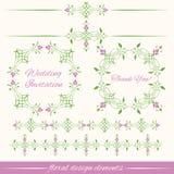 Insieme degli elementi decorativi d'annata di progettazione floreale Immagini Stock