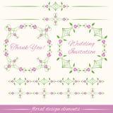 Insieme degli elementi decorativi d'annata di progettazione floreale Fotografia Stock Libera da Diritti