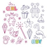 Insieme degli elementi decorativi del profilo per la progettazione del bambino royalty illustrazione gratis