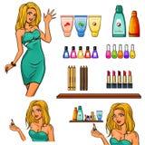 Insieme degli elementi dei cosmetici Fotografie Stock