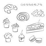 Insieme degli elementi dei dessert e dei dolci Fotografie Stock