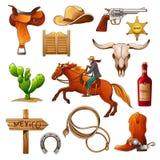 Insieme degli elementi dei selvaggi West l'attrezzatura dei cowboy illustrazione di stock