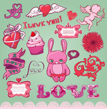 Insieme degli elementi del biglietto di S. Valentino disegnato a mano per il disegno Immagini Stock Libere da Diritti