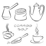 Insieme degli elementi del caffè nero per la vostra progettazione Fotografia Stock Libera da Diritti