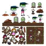 Insieme degli elementi del gioco con il carattere dello zombie. Immagini Stock