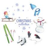 Insieme degli elementi del grafico di Natale Fotografie Stock