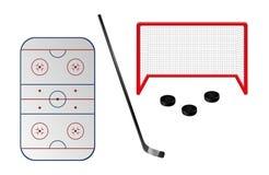 Insieme degli elementi del hockey su ghiaccio Immagini Stock Libere da Diritti