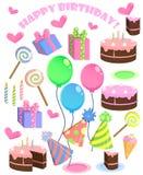 Insieme degli elementi del partito del fumetto di compleanno di vettore royalty illustrazione gratis
