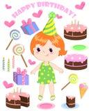 Insieme degli elementi del partito del fumetto di compleanno di vettore e di una ragazza sveglia royalty illustrazione gratis
